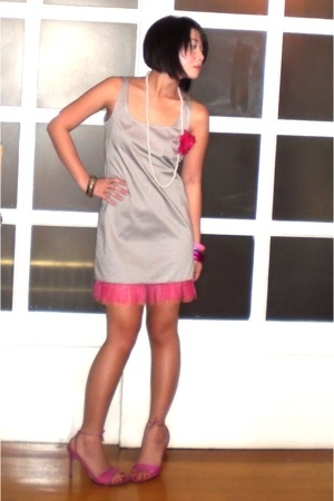 pink assorted bracelet - pink BCBGgirls shoes - gray Moonshine dress