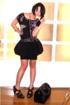 black printed tee Mango shirt - black Zara shoes - black Louis Vuitton bag