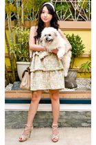 yellow Glitterati dress - beige Nina Ricci purse - beige Topshop shoes - white F