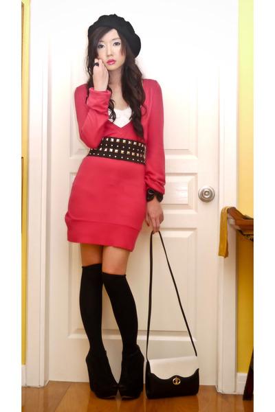 black wedged suede Topshop boots - black Aldo hat - pink Zara sweater
