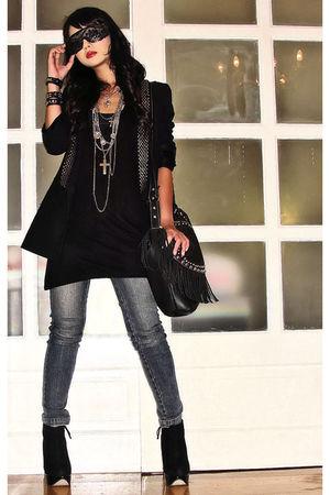 black lapel studded Zara blazer - black Topshop boots
