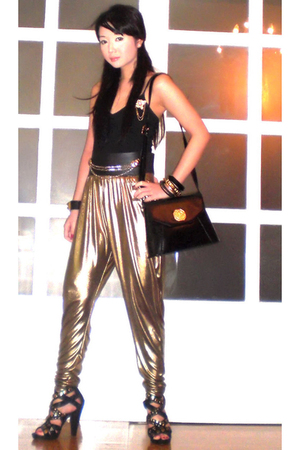 gold Moonshine pants - black Glitterati belt - black Mango top - black Yves Sain