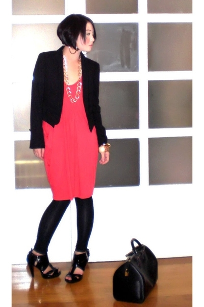black Zara blazer - black Topshop shoes - black Louis Vuitton bag
