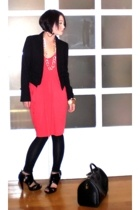 Zara blazer - Topshop top - Zara stockings - Topshop shoes - Louis Vuitton purse
