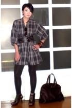 gray Zara top - brown Anthem shoes - brown Zara leggings