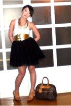 gold custom made belt - gold Michael Kors shoes - beige Louis Vuitton bag