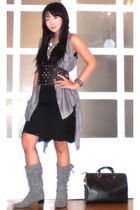 gray random from Hongkong vest - silver H&M necklace - black Zara dress - black