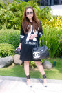 Black-zara-dress-black-chanel-bag-silver-my-collection-earrings