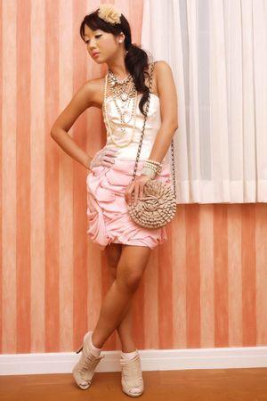 pink Glitterati dress - beige suede fringe Glitterati boots - beige Topshop bag