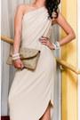 Beige-custom-made-dress-camel-vintage-clutch-christian-dior-bag-ivory-pearl-