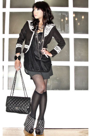 black Glitterati blazer - black Zara boots - black tank shift Topshop dress