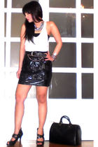 black Glitterati skirt - black Glitterati belt - black bought online shoes - whi