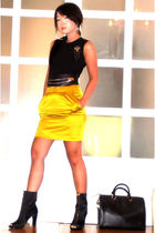yellow Glitterati skirt - black Miss Sixty shoes - black Louis Vuitton purse