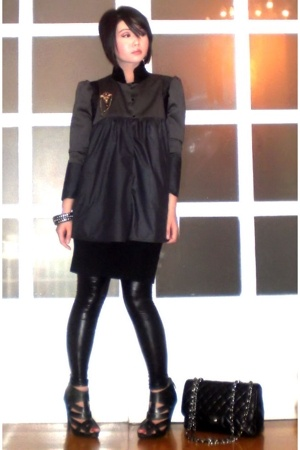 black Forever 21 dress - black Topshop shoes - gray john herrera jacket