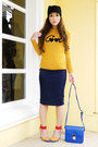 Black-zara-hat-mustard-zara-sweater-blue-lannel-bag