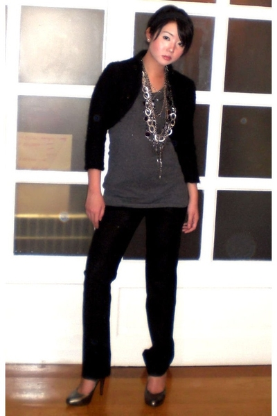 black wool bolero ilaya blazer - black Zara blazer - silver Aldo shoes