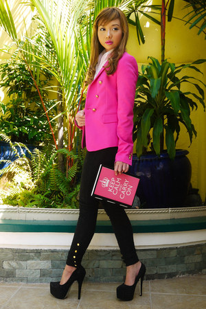 hot pink Zara blazer - hot pink 37LA bag - white Tyler blouse
