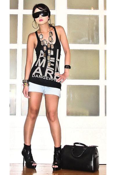 black Zara top - black online boots - blue faded denim Aeropostale shorts