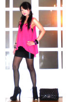 pink Pink Manila top - black Topshop shoes - black sheer black random stockings
