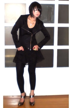 black Tyler jacket - silver maryjane heels Aldo shoes