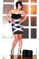 black Glitterati dress - silver strappy heels ami clubwear shoes