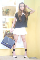 white Zara skirt - black Zara shirt - off white Celine bag