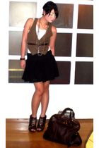 Zara vest - Topshop top - Terranova skirt - Anthem shoes - Yves Saint Laurent pu