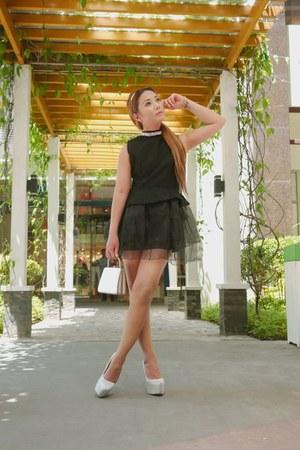 black Sheinside dress - silver Bally bag