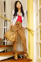 blue Zara blazer - tawny Topshop shoes - camel Marc Jacobs bag