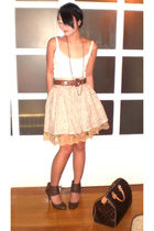 Topshop top - Chanel belt - Hong Kong skirt - Zara shoes - Louis Vuitton purse -