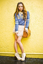 beige Forever21 skirt - eggshell Trunk Show boots - teal Zara sweater