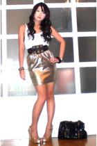 Glitterati skirt - Cintura belt - Mango top - Fendi purse - amiclubwearcom shoes