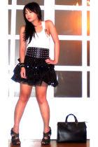 black Glitterati skirt - black Zara shoes - black Louis Vuitton purse
