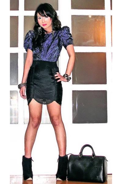 blue Topshop blouse - black Topshop boots - silver Louis Vuitton bag