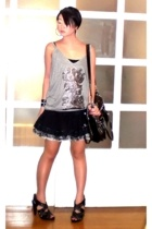 black my design skirt - black bag - black Zara shorts - gray Zara t-shirt