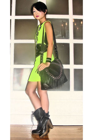 laceup combat From Bazaar boots - Glitterati dress - fringe studded random bag