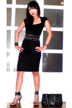 black Glitterati belt - black online shoes - black Zara dress