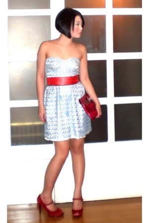 blue Glitterati dress - red Nine West shoes - red Details bag