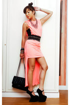 light orange mullet neon Glitterati dress - black 255 Chanel bag
