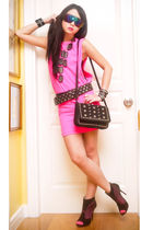 pink Glitterati dress - black Zara belt - black online boots - black bazaar find