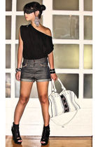 black Mango t-shirt - Glitterati shorts - black online boots - white from sis pu