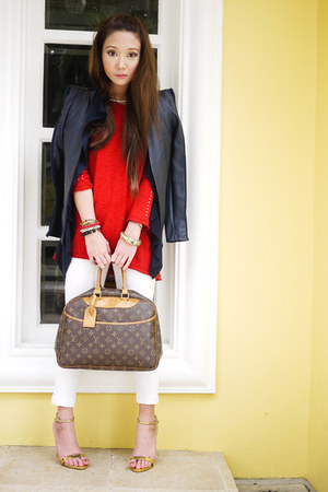 white Mango jeans - navy jhajing jacket - red Zara sweater