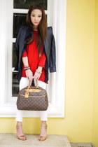 white Mango jeans - navy jhajing jacket - red Zara sweater