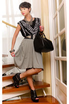 black Mango t-shirt - gray Mango skirt - black Glitterati belt - black Virtual M