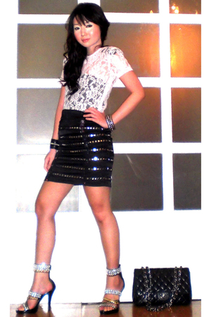 white Glitterati blouse - black Glitterati skirt - black Zoo Shop shoes - black