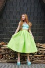 Chartreuse-sheinside-skirt-light-blue-gucci-bag