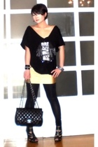 gold spandex mini glasnost skirt - black Topshop shoes - black Zara leggings