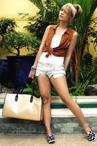 tawny Topshop top - blue Mango shorts - navy j&m flats
