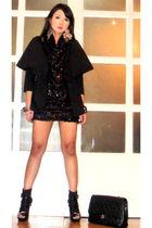 black 255 Chanel bag - black online boots - black Glitterati dress