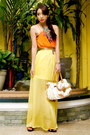 Orange-chiffon-zara-blouse-yellow-maxi-chiffon-glitterati-skirt